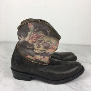 Ash Skull Tattoo Ankle Brown Leather Boots, Rare